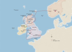 2019 British Isles Explorer Itinerary Map