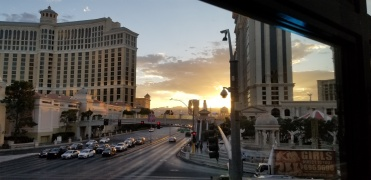 LV sunset between bellagio and caesars palace from giada restaurant