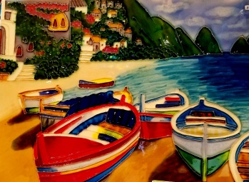 boats in a cove catalina tile