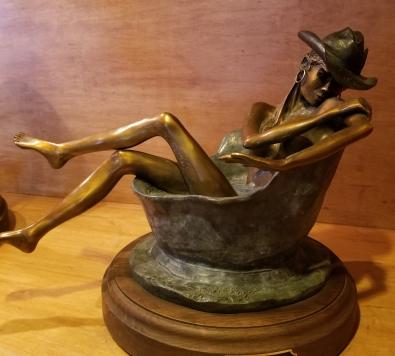 JH bronze cowgirl bathtime