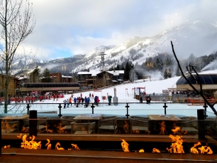 skiers heading to the hills jh teton village hotel breakfast view