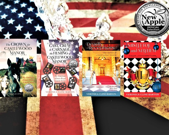 4 books with new apple award crowns flags