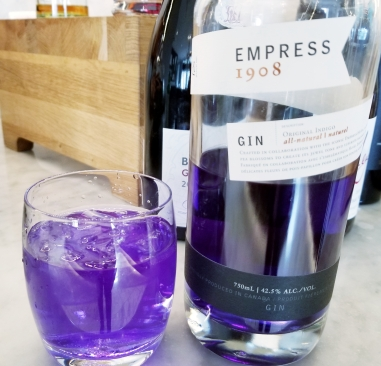 Empress 1908 gin infused with pea blossoms victoria bc