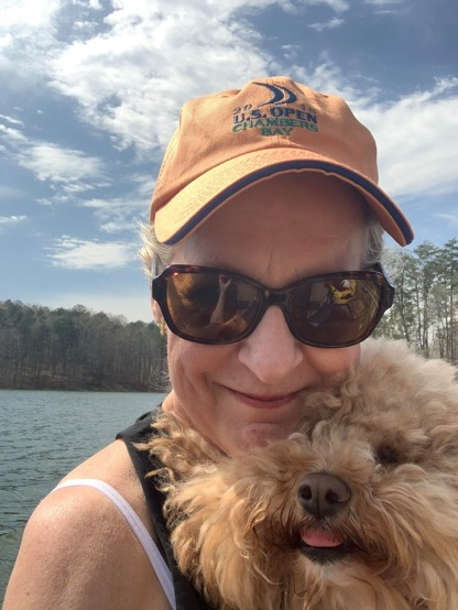 Teddy with his mama at the lake
