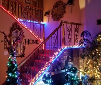 red white blue lites stairs